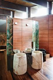 modern minimalist bathroom design with laminate wood flooring on