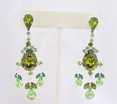 Peridot Chandelier Earrings Rhinestone Earrings Chandelier Earrings Swarovski Crystal