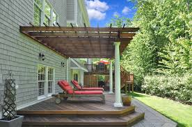 Deck With Pergola by Traditional Deck With Trellis U0026 Exterior Brick Floors In East