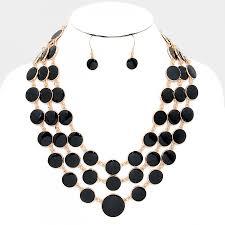 multi layered necklace images Black onyx enamel dots multi layered statement fashion necklace set jpg