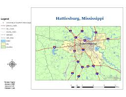 Ms Map Applications In Gis Base Map For Hattiesburg Mississippi