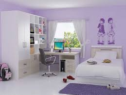 elegant girls bedroom purple color with computer desk study and