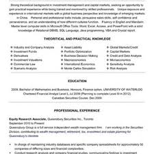 Investment Banking Resume Examples Buy Side Analyst Resume Resume For Your Job Application
