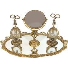 Mirrored Vanity Set Guildcrest 24k Gold Plated Mirrored Vanity Plateau With Perfume