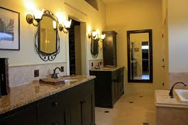 bathroom contemporary sconces applied in boths sides of double