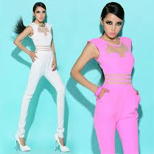 pink jumpsuit womens jumpsuit mesh patchwork bodycon rompers