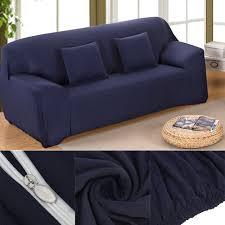 housse canapé extensible 4 places meubles protecteur avec élastique solide pur couleur salon canapé
