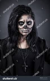 woman mask halloween young woman day dead mask skull stock photo 155527364 shutterstock