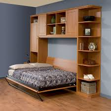 Queen Size Murphy Beds Natural Polished Wooden Side Fold Murphy Bed With Black Steel Legs