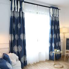 Valance Curtains For Bedroom Navy Blue Tree Embroidery Linen Cotton Blend Burlap Country