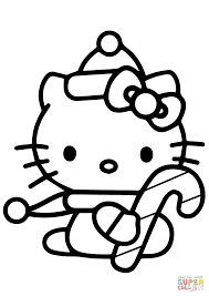 hello kitty with christmas candy cane coloring page free