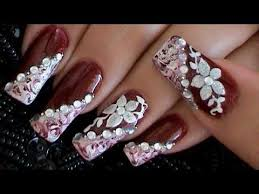 how to marble burgundy u0026 white elegant flower nail art design