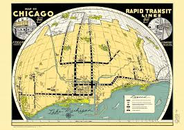 Chicago Transit Map by Map U2013 Chicago U2013 Rapid Transit Lines U2013 Fish Eye Aerial View U2013 1950