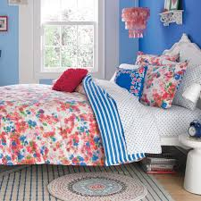 college bedding girls reversible pink floral pattern and blue dots king comforter and