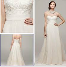 tulle wedding dresses david s bridal ivory tulle strapless a line beaded lace