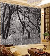 rideau pour chambre noir et blanc hiver forêt paysage rideaux pour chambre à coucher