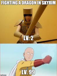 Fighting Memes - image tagged in memes fighting dragon one punch man saitama skyrim