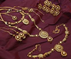 necklace wedding sets images Gold plated antique temple wedding set earrings necklace long JPG