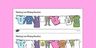 washing line missing number to 10 activity sheets number