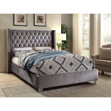 meridian aiden grey velvet bed king white velvet bed velvet