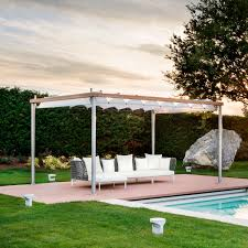 self supporting pergola wooden stainless steel fabric
