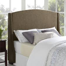 bedroom simple wingback headboard design with pattern bed cover