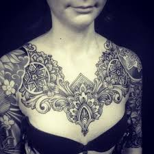 chest tattoos pieces and more pattern flower tattoos