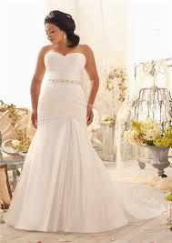 Plus Size Wedding Dress Sweetheart Corset Back Ruched Satin Plus Size Wedding Dress With