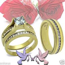 ss wedding ring his hers cubic zircon cz gold plated ss wedding ring set ring