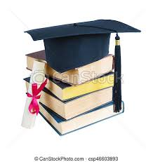 graduation books graduate hat books and scroll black graduate hat stack of