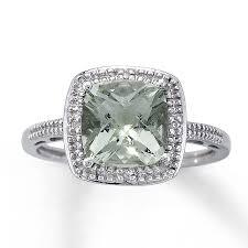 large amethyst diamond white gold kay green amethyst ring cushion cut with diamonds 10k white gold