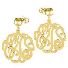 monogrammed earrings gold cutout monogram earrings be monogrammed
