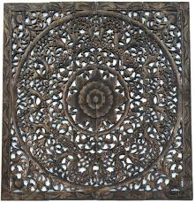 Home Decor Bali Elegant Wood Carved Wall Plaque Wood Carved Floral Wall Art