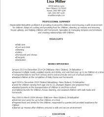 Babysitter Resume Template Marvelous Babysitter Resume 3 Professional Babysitter Resume