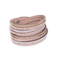 leather rhinestone bracelet images Leather layered crystal rhinestone bracelet tan pretty missy inc jpg