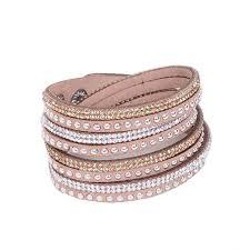 leather rhinestone bracelet images Leather layered crystal rhinestone bracelet tan pretty missy inc jpg
