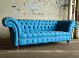 nuvo cobalt blue wool 3 seater chesterfield sofa abode sofas
