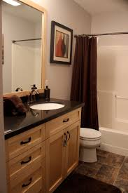 full bathroom quartz countertops vinyl floors maple cabinets