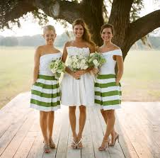moss green bridesmaid dresses bold graphic striped bridesmaid dresses