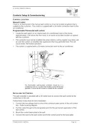 control location manual control installing the control bonaire