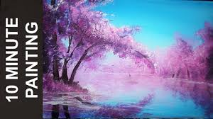 painting a cherry blossom tree along the river with acrylics in 10