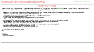 kitchen helper work experience certificate