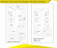 Floor Plan For Two Story House Syed Villas 5 Marla 10 Marla Double Storey
