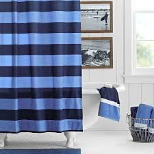 Rugby Stripe Curtains Rugby Stripe Shower Curtain Navy Blue Pbteen