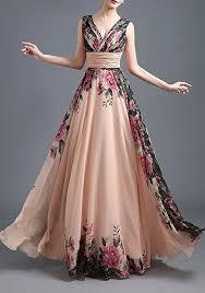 maxi dress chagne floral draped plunging neckline maxi dress