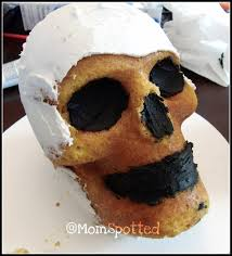 Halloween Cakes Easy To Make by Wilton Dimensions 3 D Skull Pan Tutorial Momspotted