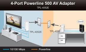 tpl 4052e trendnet powerline av500 4 port hub switch up to 500 mbps tpl