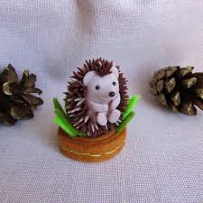 hedgehog figurine polymer clay sculpture hedgehog miniature