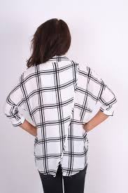 black and white blouse kate white black checked cross blouse with split back clothing