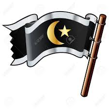 Gold Star Flag Islamic Crescent And Star Religious On Black Silver And Gold